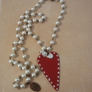 Southern Junkie Red Heart Pearl Necklace.